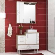 Kit Banheiro Gabinete Cuba e Armário com Espelho 80cm Ecco - Bosi
