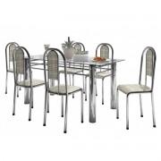 Mesa com 06 Cadeiras Brasil Cromado - Marcheli