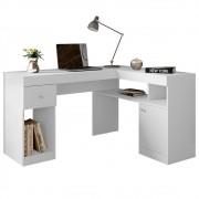 Mesa Computador Escrivaninha em L Nilo Branco Fosco - Caemmun