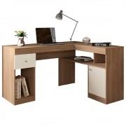Mesa Computador Escrivaninha em L Nilo Buriti/Off White - Caemmun