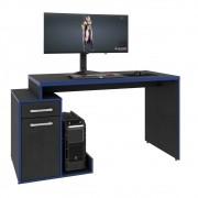 Mesa Computador PC Gamer TUF 1 Porta 1 Gaveta Flex Shark C08 Preto Ônix/Azul - Mpozenato