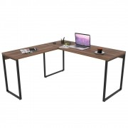Mesa de Escritório Office em L 150x150cm Estilo Industrial Prisma C08 Nogal - Mpozenato