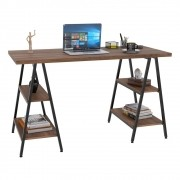 Mesa Escrivaninha Cavalete 135cm Estilo Industrial Prisma C08 Nogal/Preto - Mpozenato