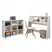 Mesa Escrivaninha Desktop PC Idealle C12 Nicho Multiuso Toys e Cadeira Charles Branco - Mpozenato