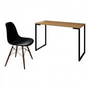 Mesa Escrivaninha Fit Industrial 120cm Natura e Cadeira Charles Design FT1 Preta - Mpozenato
