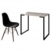 Mesa Escrivaninha Fit Industrial 90cm Branco e Cadeira Charles Design FT1 Preta - Mpozenato