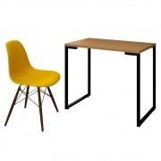 Mesa Escrivaninha Fit Industrial 90cm Natura e Cadeira Charles Design FT1 Amarela - Mpozenato