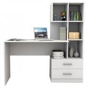 Mesa Escrivaninha para Computador com Estante Livreiro Multiuso 2 Gavetas Esc4002 Branco - Appunto