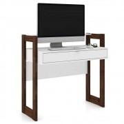 Mesa Para Computador Escrivaninha 1 Gaveta AZ1007 Branco/Nogal - Tecno Mobili
