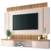 Painel Bancada Suspensa TV até 55 Pol. Illuna H01 Off White/Freijó - Mpozenato