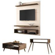 Painel para TV Life 1.3 com Aparador Quad e Mesa de Centro Lucy - HB Móveis