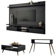 Painel TV Livin 2.2 com Aparador Quad e Mesa de Centro Lucy - HB Moveis
