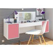 Penteadeira Camarim Atração com Cadeira Charles Branco/Pink - Albatroz