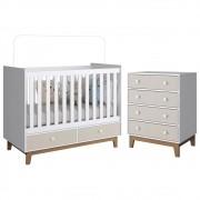 Quarto de Bebê Berço BY110 e Cômoda BY120 Branco/Nude - Completa Móveis