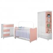 Quarto de Bebê Completo Rubi Branco/Rosê - PN Baby