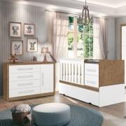 Quarto Infantil Cômoda Affetto e Berço Premium Amêndoa/Branco - Planet Baby