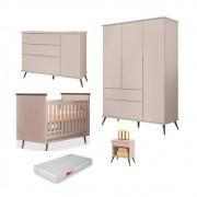 Quarto Infantil Completo Mel e Berço Mini Cama Wood com Colchão P04 Rosê - Mpozenato