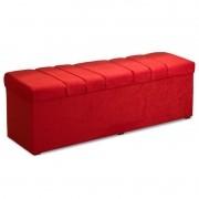 Recamier Calçadeira Baú 140cm Roma Suede Amassado Vermelho - JS Móveis