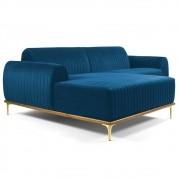 Sofá 350cm 6 Lugares com Chaise Esquerdo Pés Gold Molino B-170 Veludo Azul - Domi