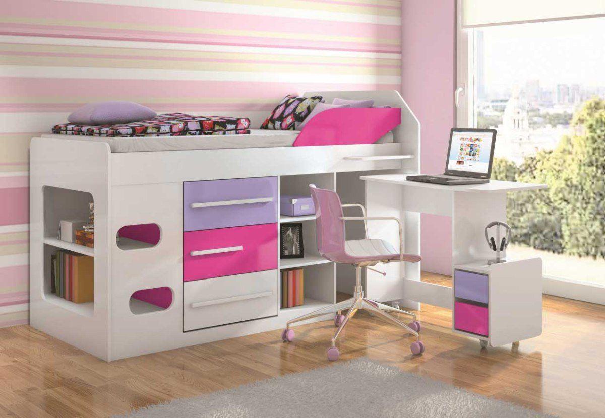 Image of: Cama Solteiro Sleep Teen Lol Com Mesa De Computador Santos Andira