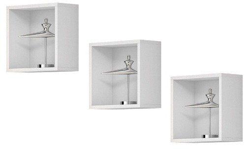 Kit com 03 Nichos Cubo Decorativo 31x31x15 - M.A.S