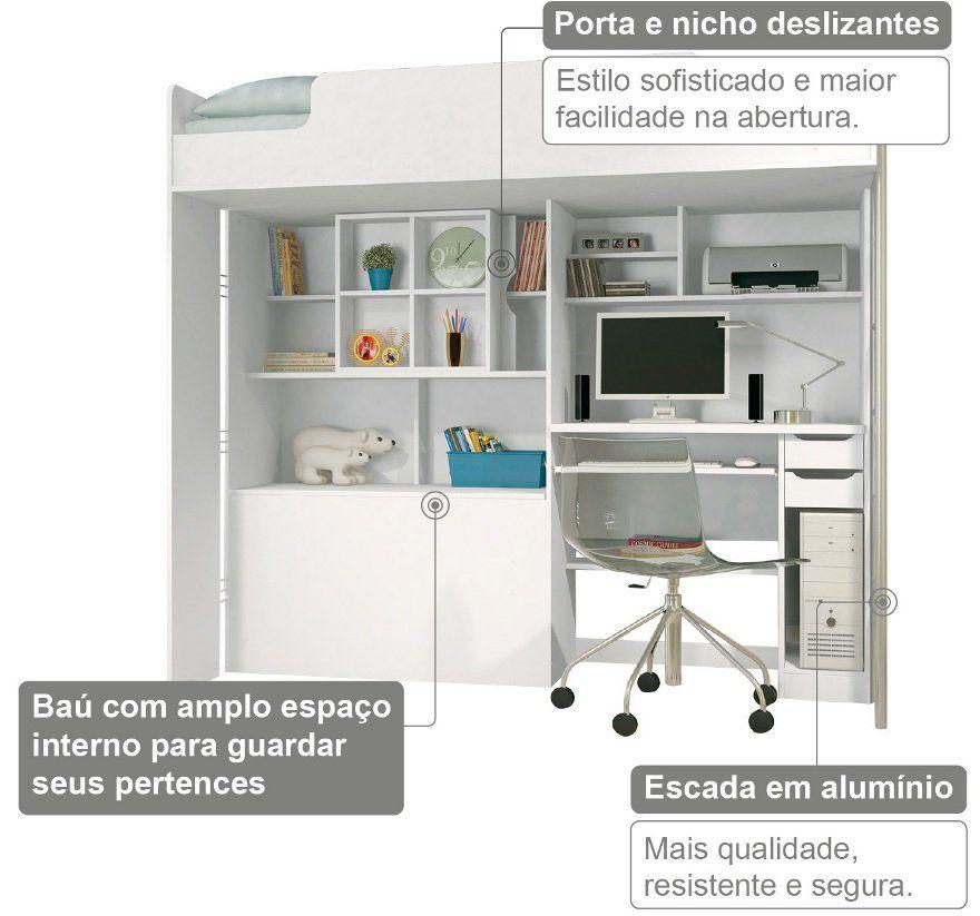 Modulo Office Teen Beliche C/ Cama Juvenil Quarto Solteiro - Santos Andirá