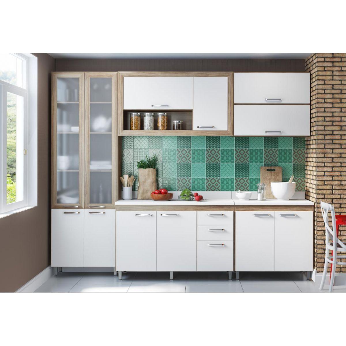 Ambiente Modulado com Paneleiro de Portas de Vidro 5021 Toscana - Multimóveis