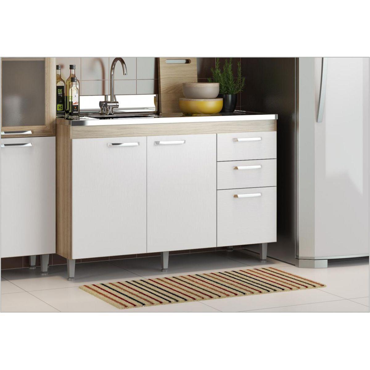 Ambiente Modulado para Cozinha com Armário Aéreo 120 cm Toscana Argila com Branco - Multimóveis