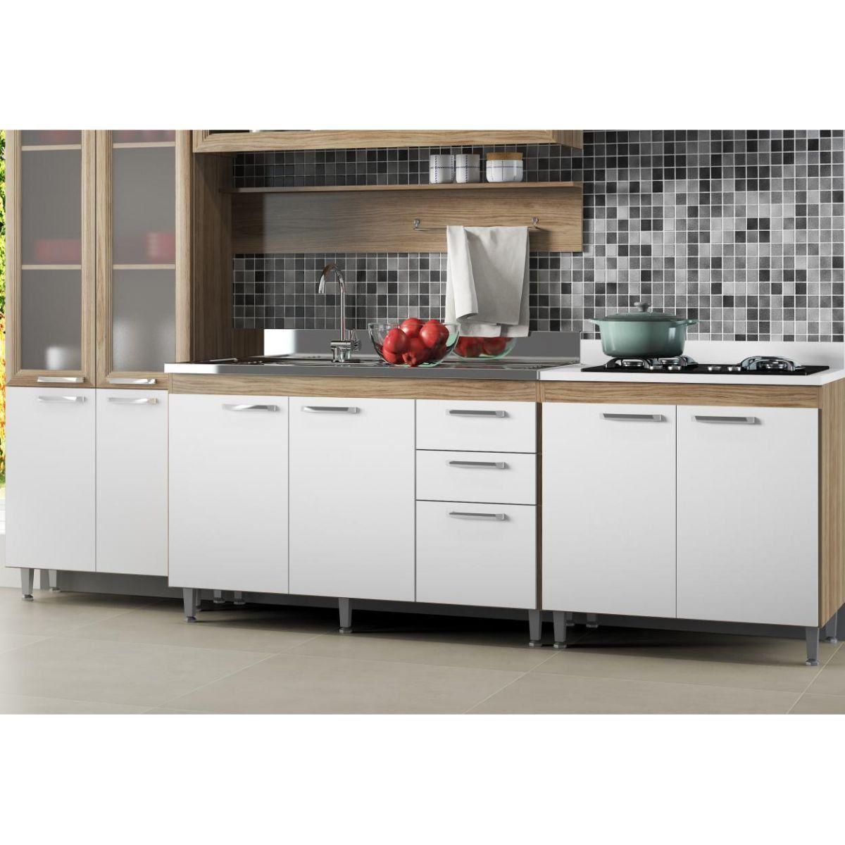 Ambiente Modulado para Cozinha com Armário Aéreo de 120 cm Basculante Toscana - Multimóveis