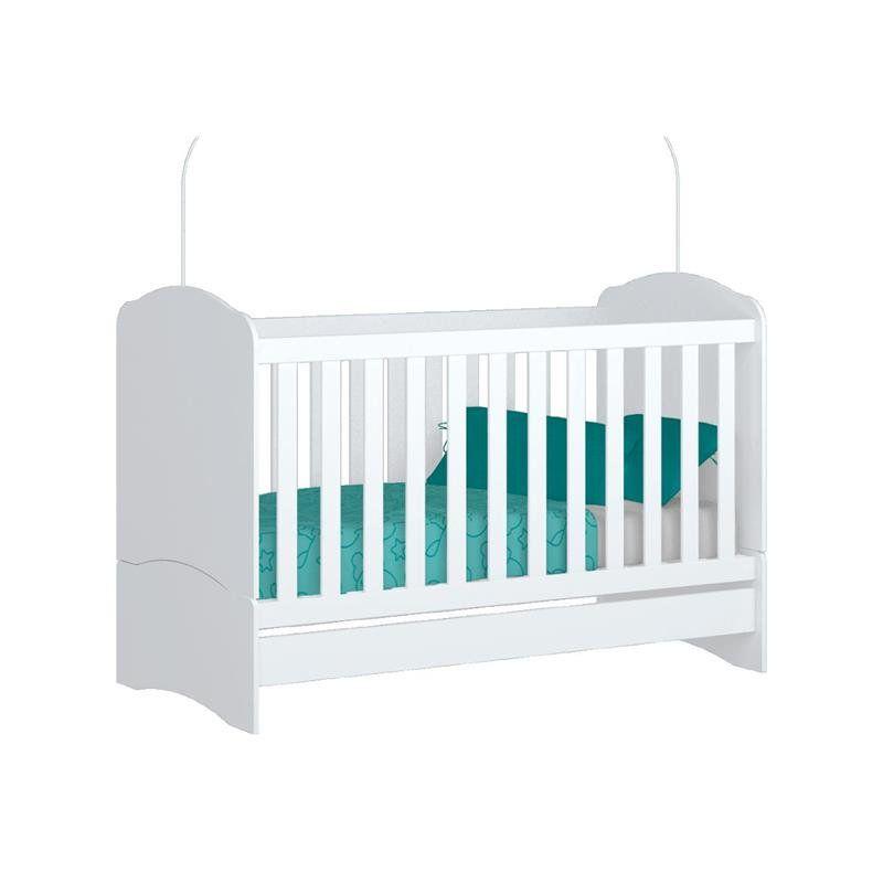Quarto Infantil Cômoda 04 Gavetas Doce Sonho com Berço Bala de Menta Certificado pelo Inmetro Branco - Henn