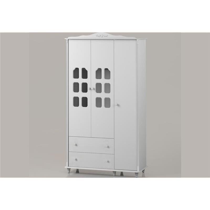 Roupeiro Infantil com 03 Portas Provence Branco Acetinado - Matic