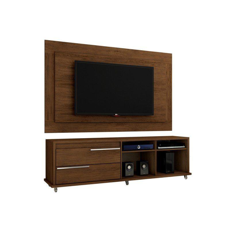 Rack 180 cm e Painel para TV de até 55 Polegadas Ônix - Móveis Leão