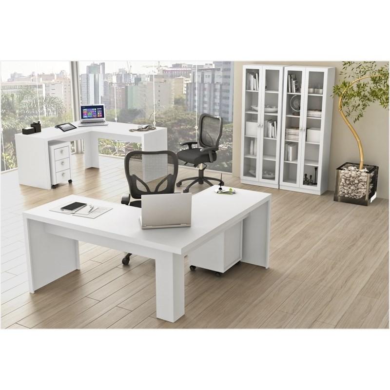 Ambiente para Home Office 06 Peças Branco - Tecno Mobili