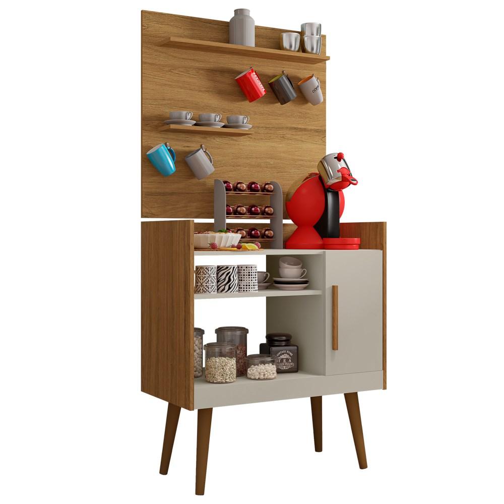 Aparador 1 Porta e Painel 2 Prateleiras Cantinho do Café Plus Cinamomo/Off White - Bechara