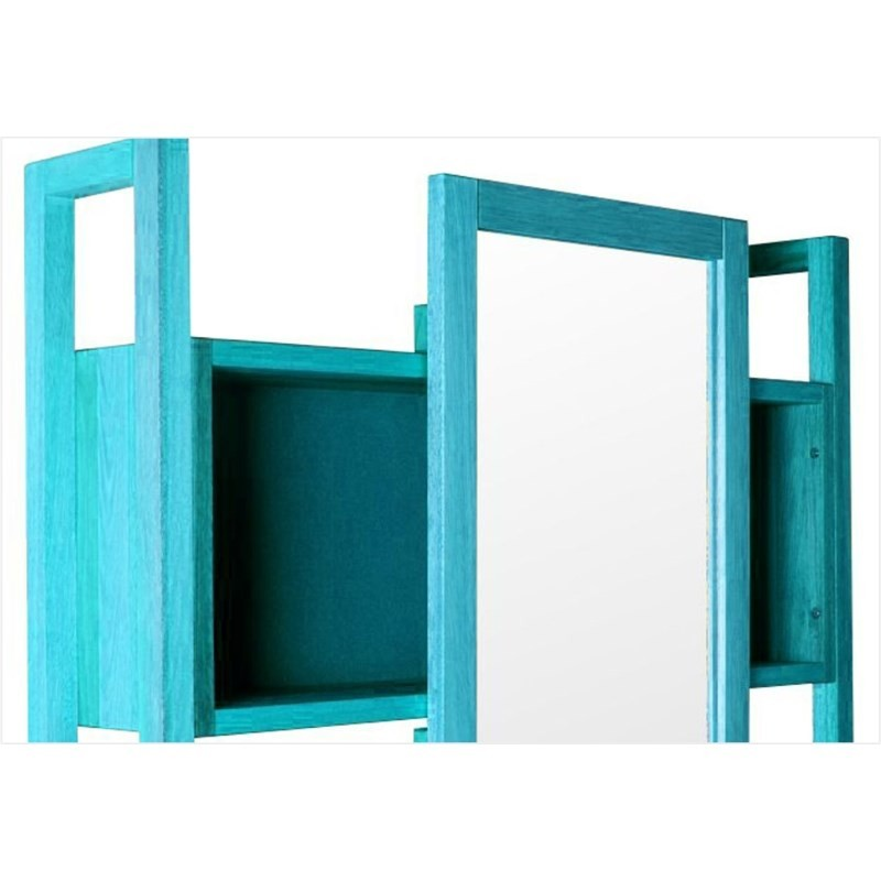 Armário Aéreo com Espelho Gourmet Aquiles Stain Azul - Mão & Formão