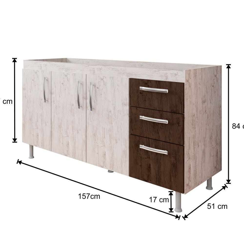 Balcão Gabinete de Pia 160cm Nathan 3 Portas Rústico/Chocolate - Nathy Móveis