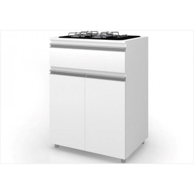 Balcão Multiuso para Cooktop 02 Portas 01 Gaveta ASM 186 Branco - Móveis MB