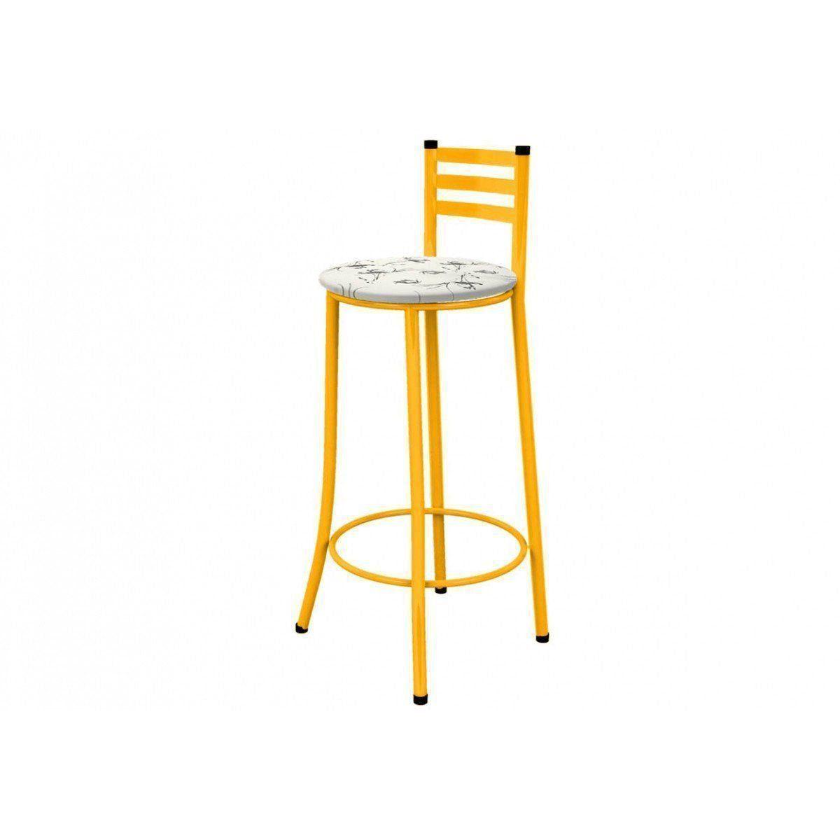 Banqueta Alta com Encosto 86 cm Amarela - Marcheli