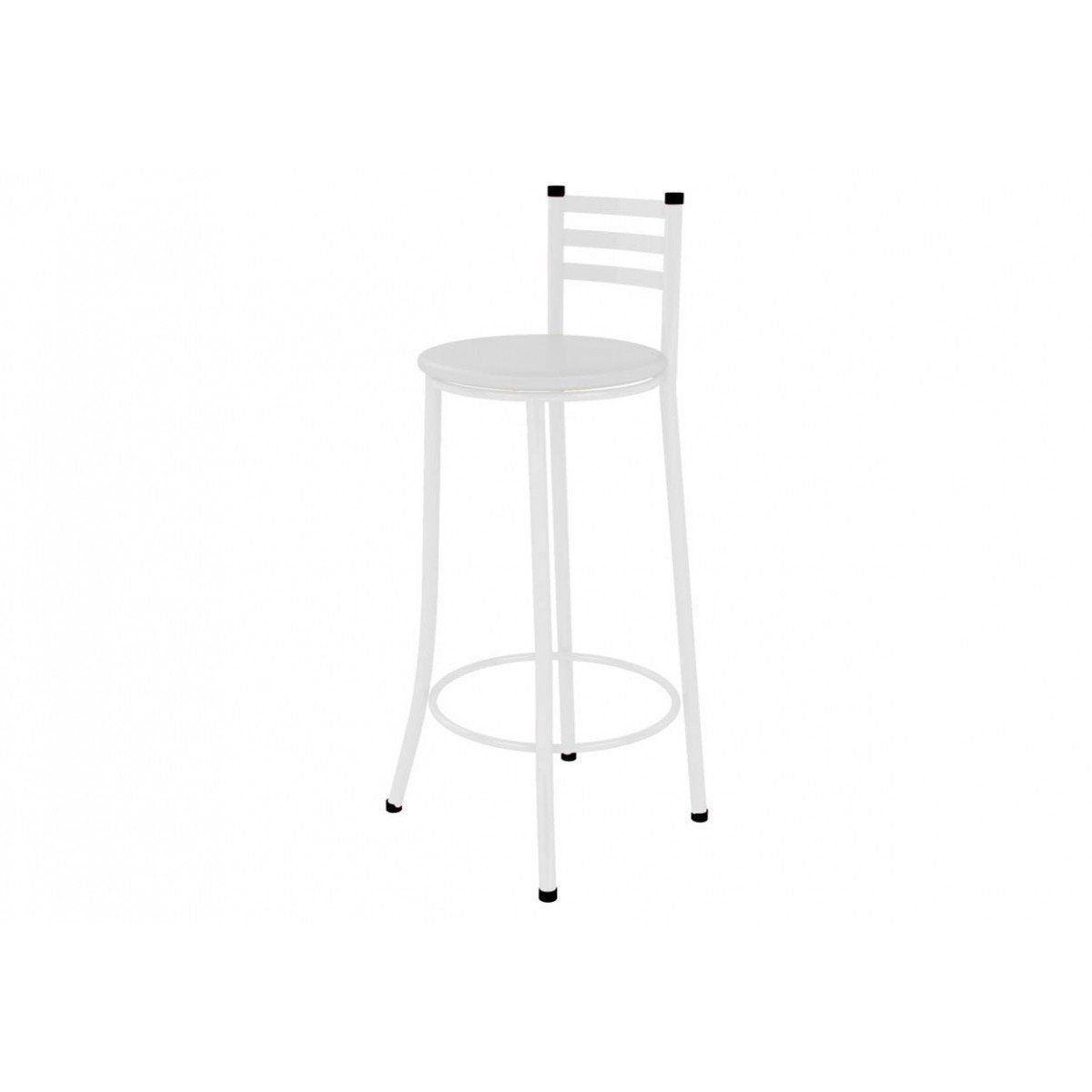 Banqueta Alta com Encosto 86 cm Branco - Marcheli