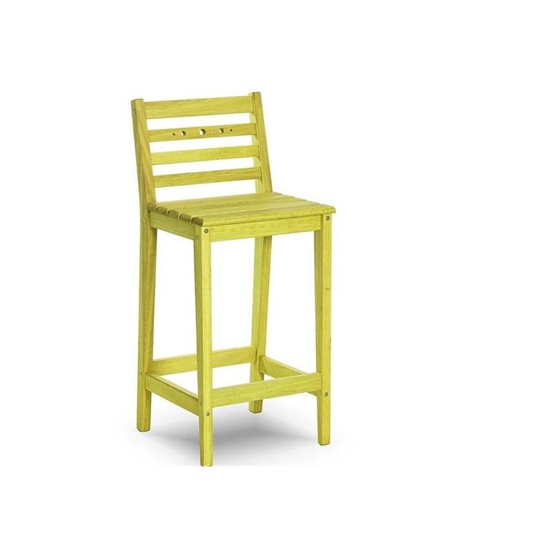 Banqueta Alta com Encosto Bar Stain Amarelo - Mão & Formão