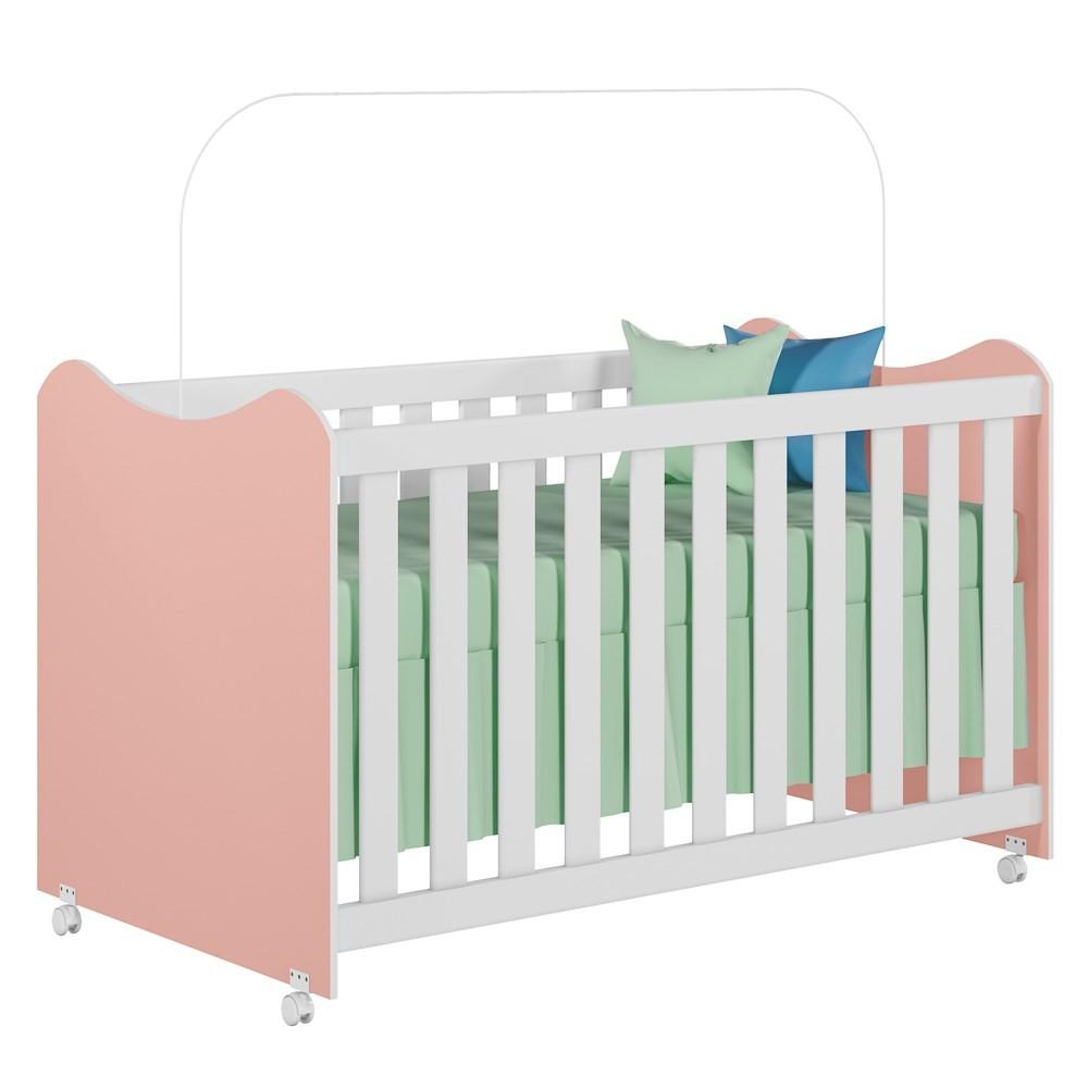 Berço Mini Cama com Rodízios Cristal Rosê/Branco - PN Baby