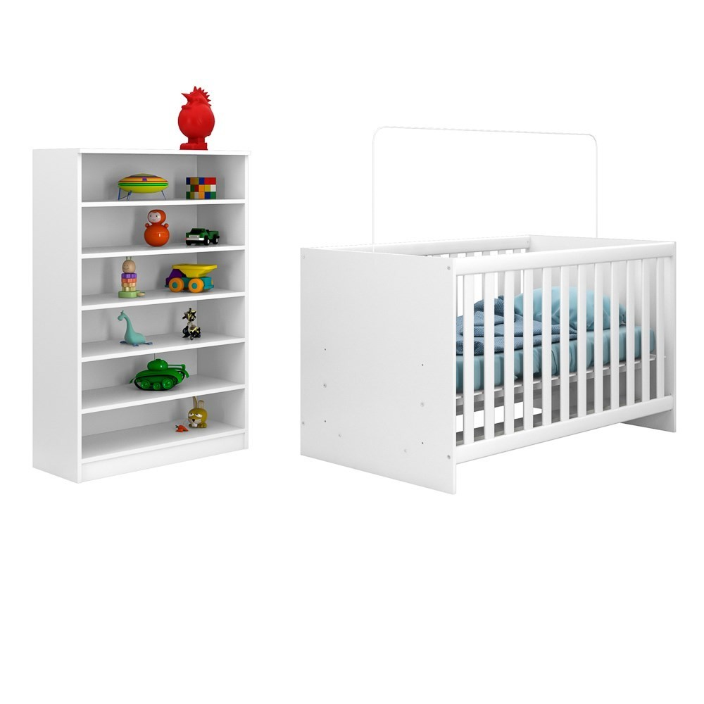 Berço Quarto Bebê Mini Cama Doce Sonho e Armário Multiuso Bell Branco - Mpozenato