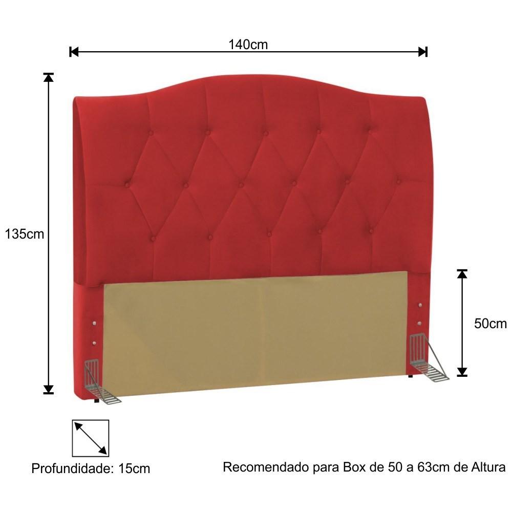 Cabeceira Cama Box Casal 140cm Colônia Corano Vermelho - D'Monegatto