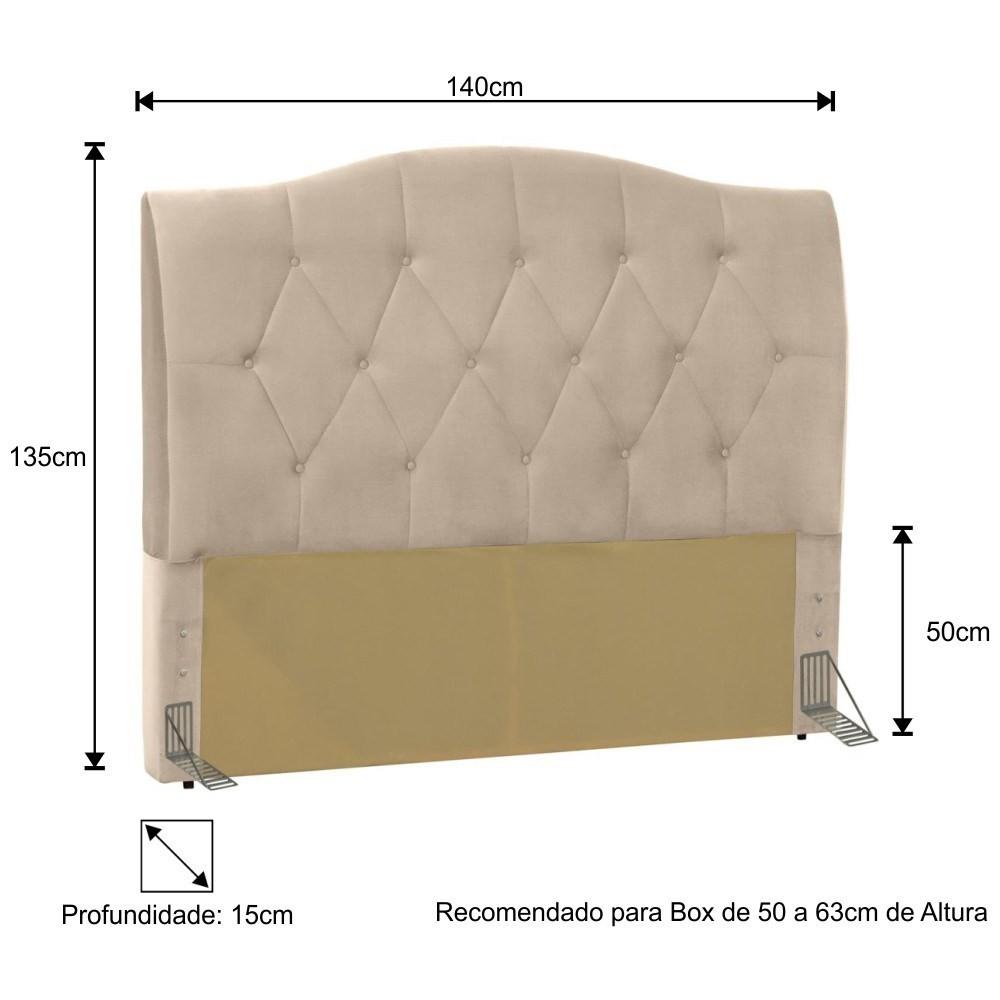 Cabeceira Cama Box Casal 140cm Colônia Suede Bege - D'Monegatto