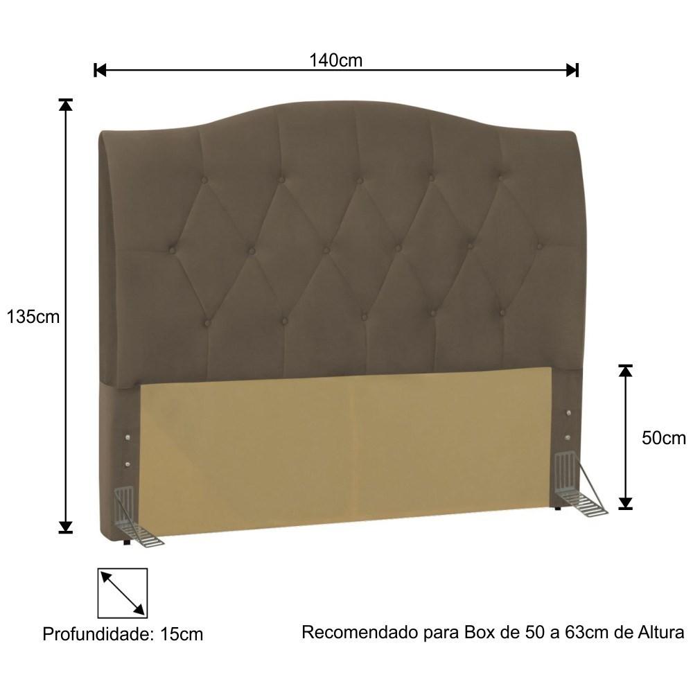 Cabeceira Cama Box Casal 140cm Colônia Suede Marrom - D'Monegatto