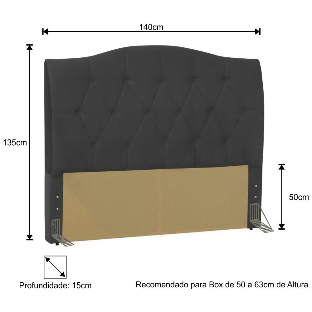 Cabeceira Cama Box Casal 140cm Colônia Suede Preto - D'Monegatto