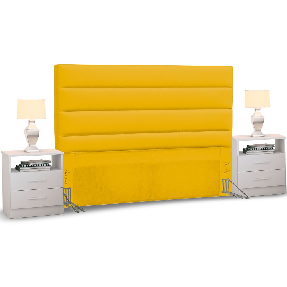 Cabeceira Cama Box Casal 140cm Greta Corano e 2 Mesas de Cabeceira AD1 Branco - Mpozenato