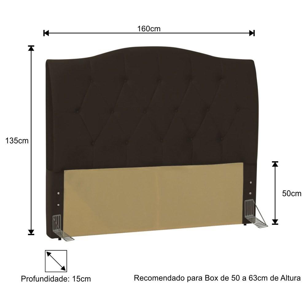 Cabeceira Cama Box Casal Queen 160cm Colônia Corano Marrom - D'Monegatto