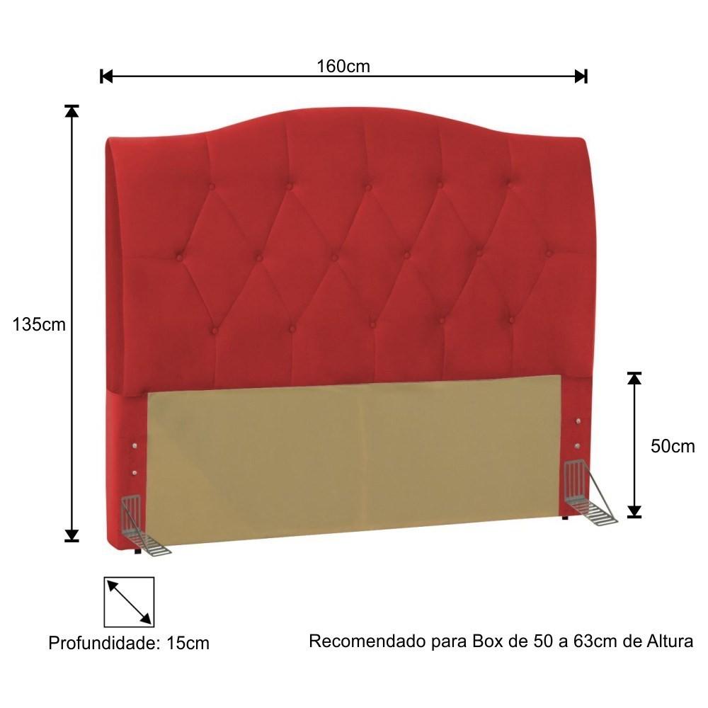 Cabeceira Cama Box Casal Queen 160cm Colônia Corano Vermelho - D'Monegatto