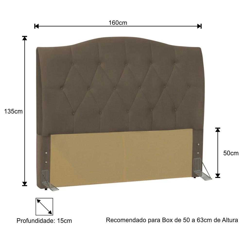 Cabeceira Cama Box Casal Queen 160cm Colônia Suede Marrom - D'Monegatto